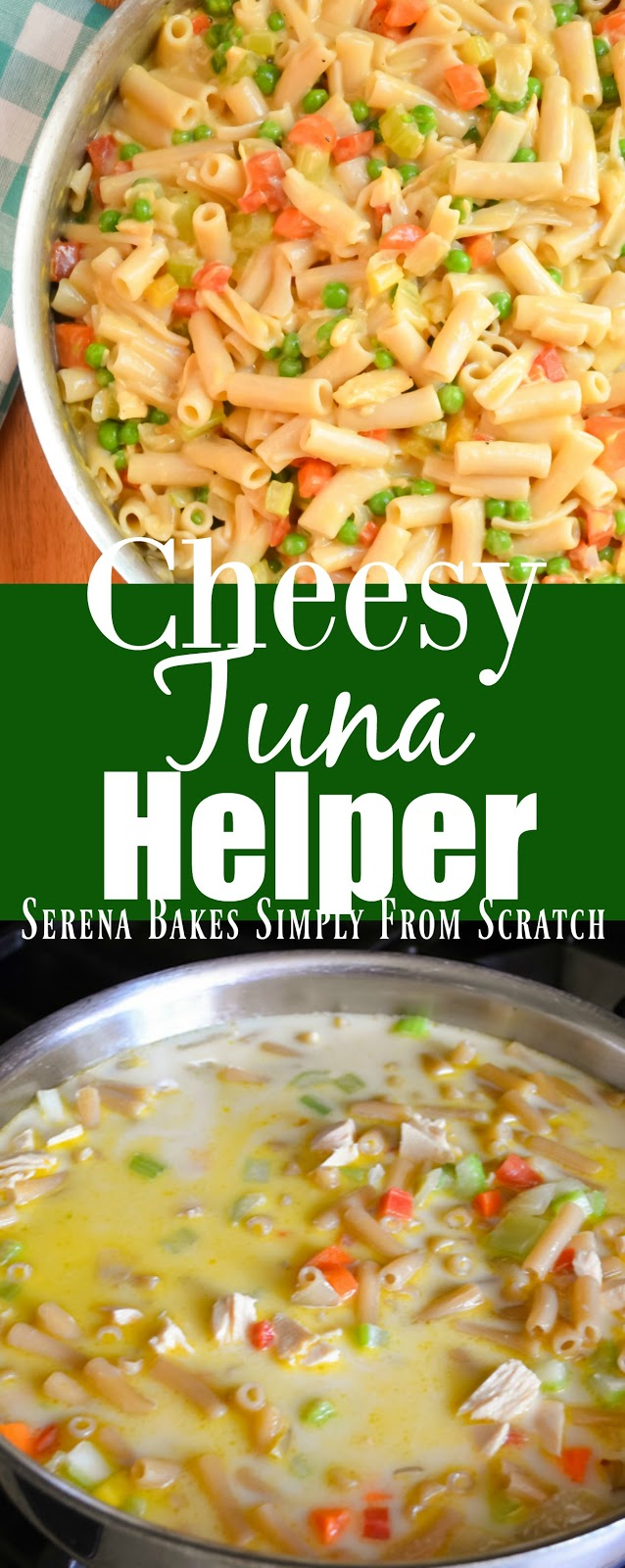 Cheesy One Skillet Tuna Helper is a super simple budget friendly dinner with in 25 minutes from Serena Bakes Simply From Scratch.