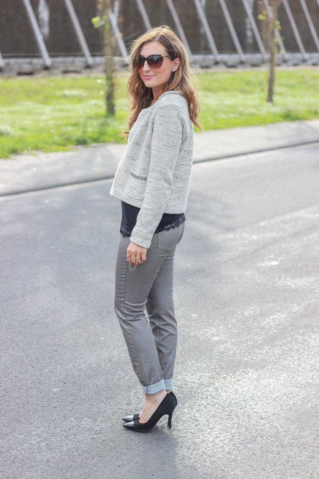 Outfitinspiration - Fashionblogger - Frankfurt Faschionblogger - Lifestyleblogger - Fashionblogger aus Deutschland - Oscar de la Renta Sonnenbrille - Taifun Fashion - Outfit Gerry Weber- Silberne Hose kombinieren - German Fashionblog