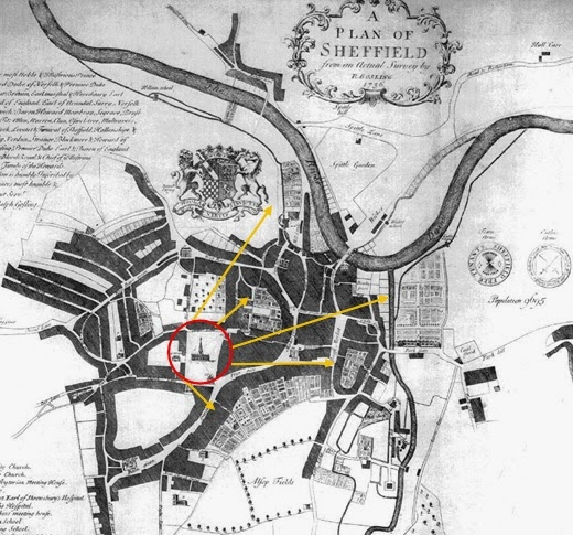 Ralph Gosling's Map of Sheffield (1736)