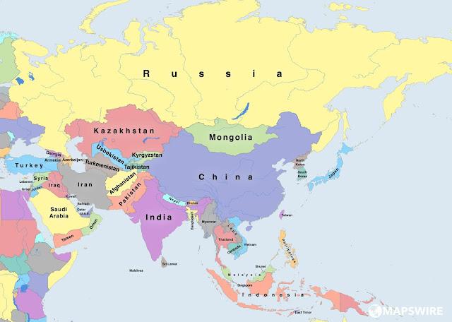 خريطة قارة آسيا Map of Asia