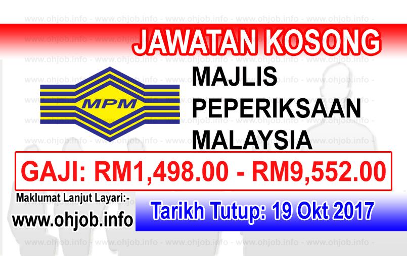 Jawatan Kerja Kosong MPM -  Majlis Peperiksaan Malaysia logo www.ohjob.info oktober 2017