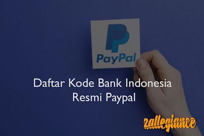 Daftar Kode Bank untuk Tarik Dana (Withdraw) Rekening Paypal