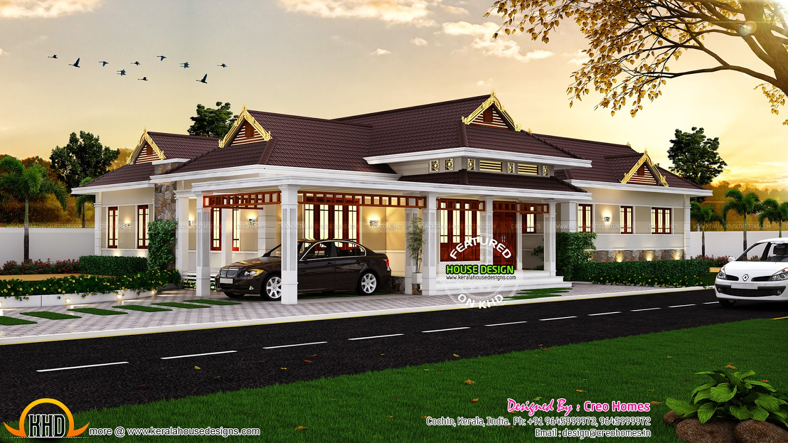 Elegant traditional kerala house kerala home design and for Beautiful 5 bedroom house plans with pictures