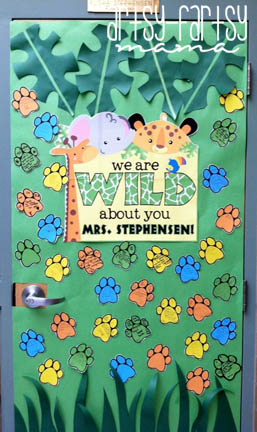 """Wild About You"" Teacher Appreciation Door"