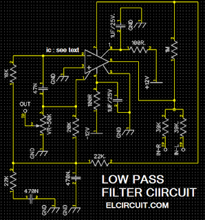 Low pass filters using IC 4558,TL072, TL062, LF353