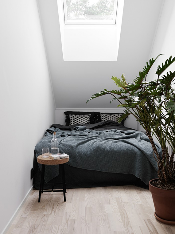 Scandinavian bedroom nook | Christopher Johnsson via Elle Decoration