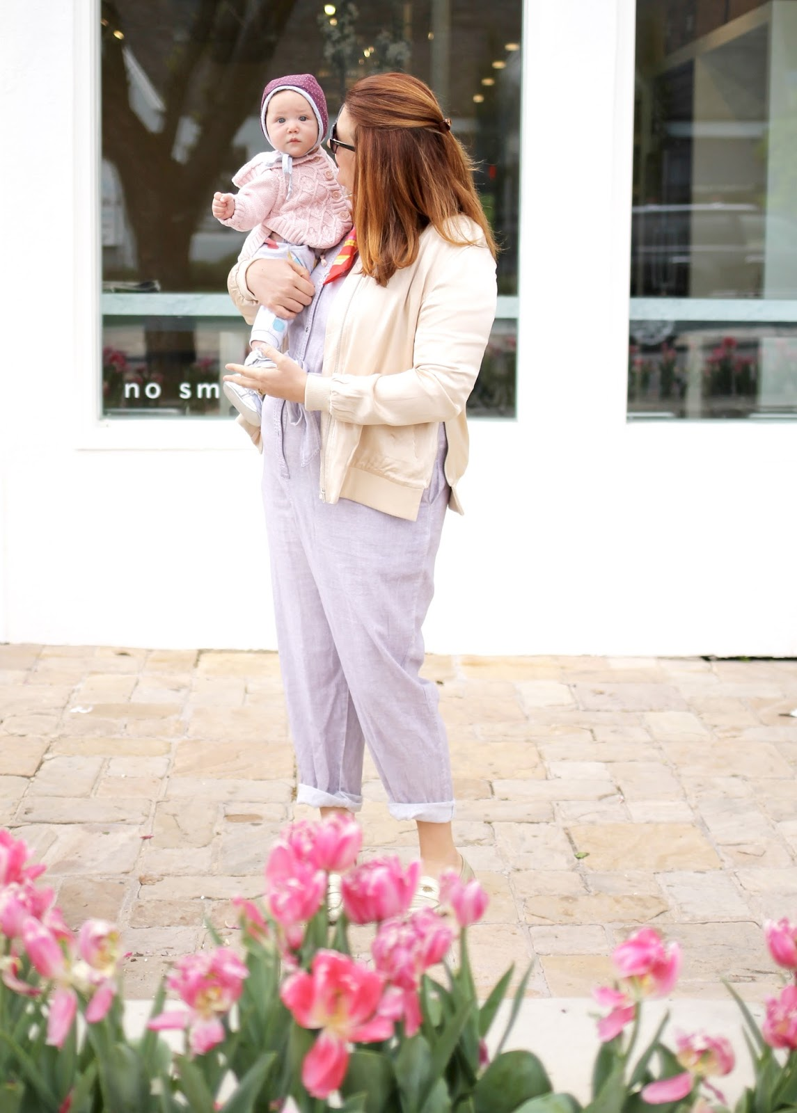jumpsuit, mom style, anthropologie, tulie bakery, red hair