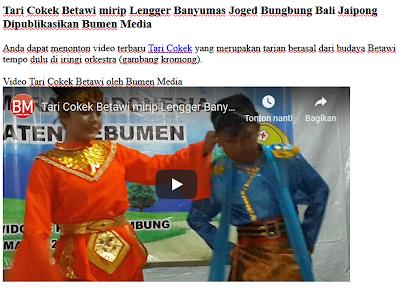 Tari Cokek Betawi mirip Lengger Banyumas Joged Bungbung Bali Jaipong Dipublikasikan Bumen Media