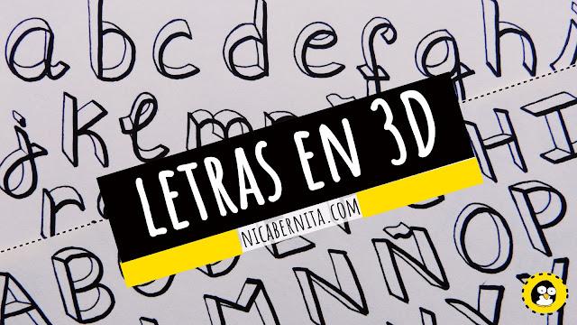 Cómo hacer letras 3D. Dibujo de letras 3D paso a paso (Nica Bernita)