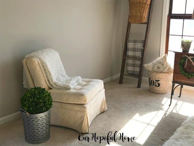 slipper chair white Ikea blanket boxwood ball olive bucket