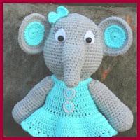 Elefanta vestida amigurumi