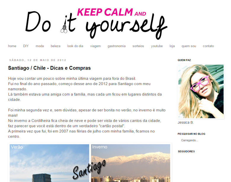 Layout antigo blog Keep Calm Diy