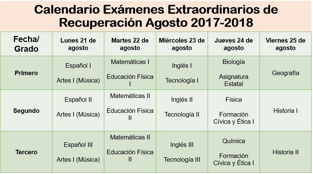 Calendario De Examenes.Calendario De Examenes Extraordinarios Instituto Juarez 2 Secundaria