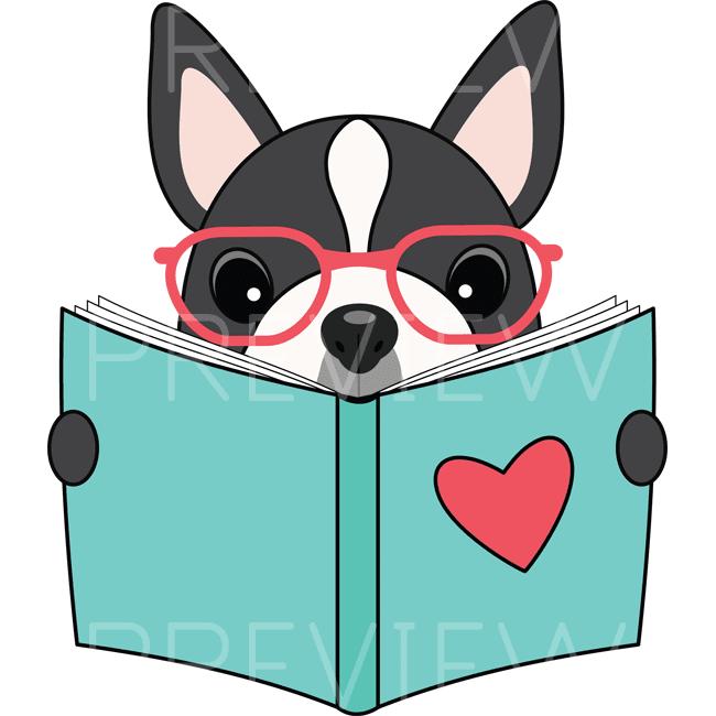 Set of super cute animals (owl, groundhog, panda, cat, penguin, boston terrier) reading books!