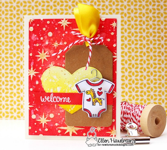 Welcome Baby Card by Ellen Haxelmans | Loveable Laundry Stamp set & Starfield Stencil by Newton's Nook Designs #newtonsnook
