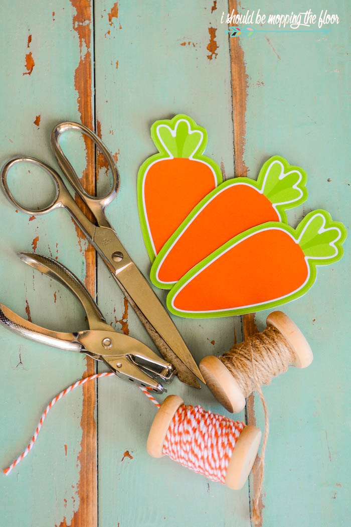 Free Printable Carrot Gift Tags | These cute carrots are fun for Easter basket tags, gift tags, or strung together in a fun banner. They print six on a page and download instantly.