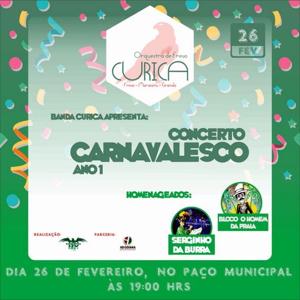 Concerto Carnavalesco em Goiana, nesta terça 26/02