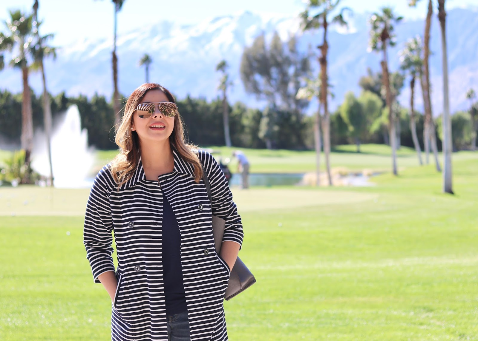 quay high key sunglasses, striped trench, what to wear in palm springs
