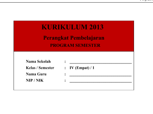 Program Semester SD Kelas 4 Kurikulum 2013 Revisi 2016