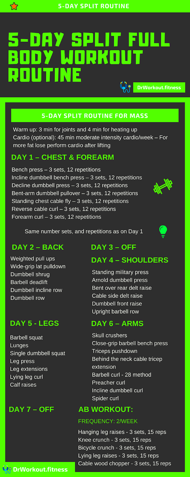 5 Day Split Workout Routine