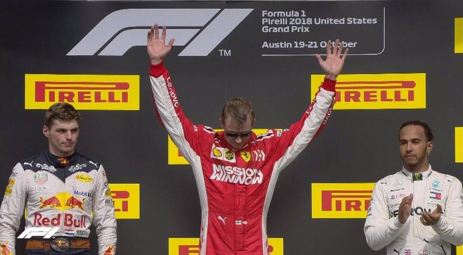 Formula 1: La Ferrari di Raikkonen trionfa negli Stati Uniti, Hamilton 3°.