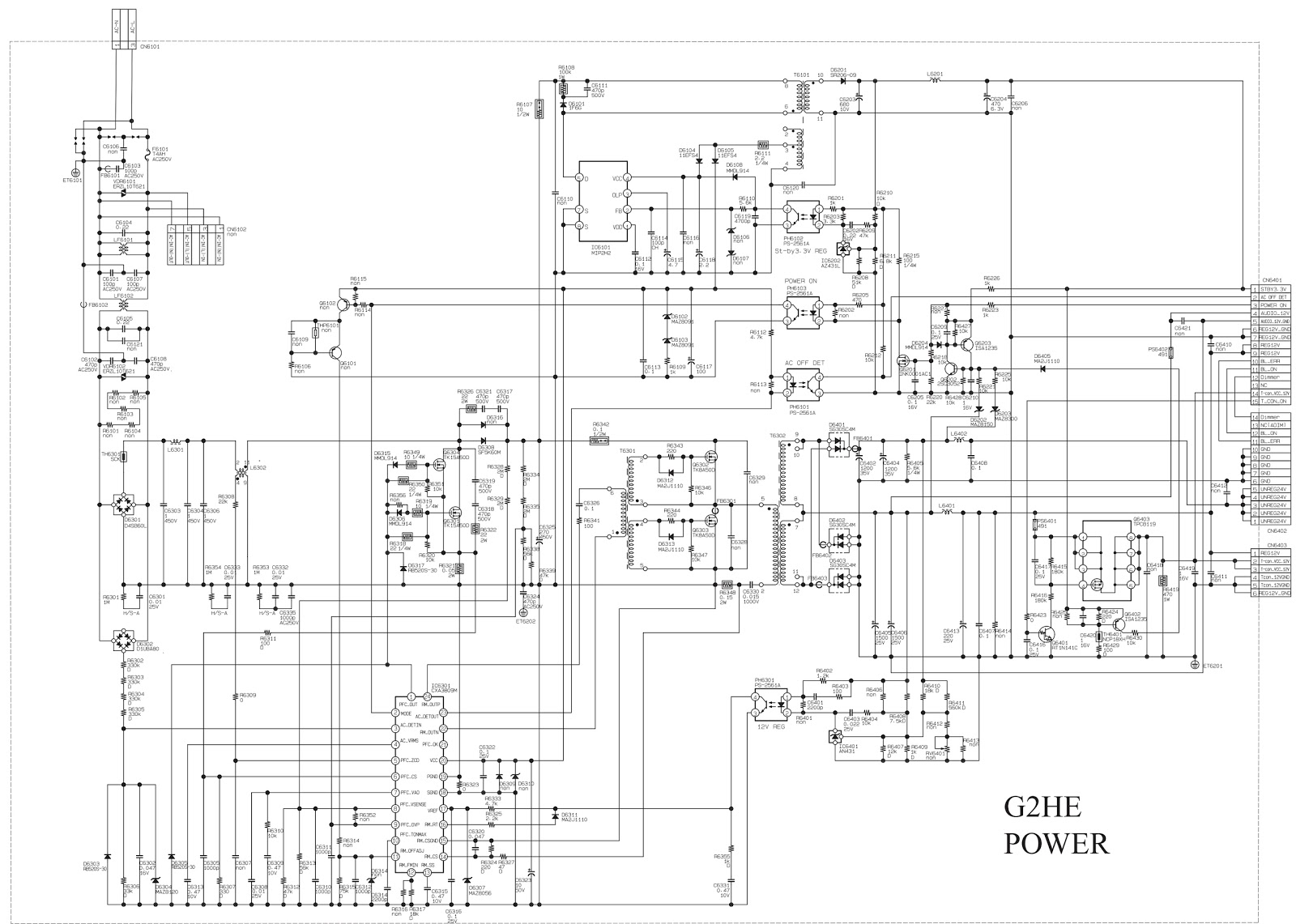 electro help  sony kdl32ex407  kdl40ex407 lcd tv power board  u2013 g2le board schematic