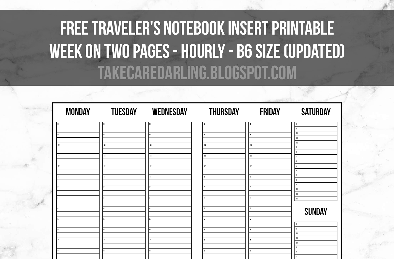 graphic about Free Printable Traveler's Notebook Inserts named Up-to-date) Free of charge Planner Increase Printable: B6 Hourly Visitors