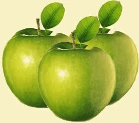 Foto de manzanas color verde con sus repectivas hojas