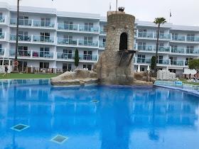 the deep pool and pirate tower at Pirates village santa ponsa majorca