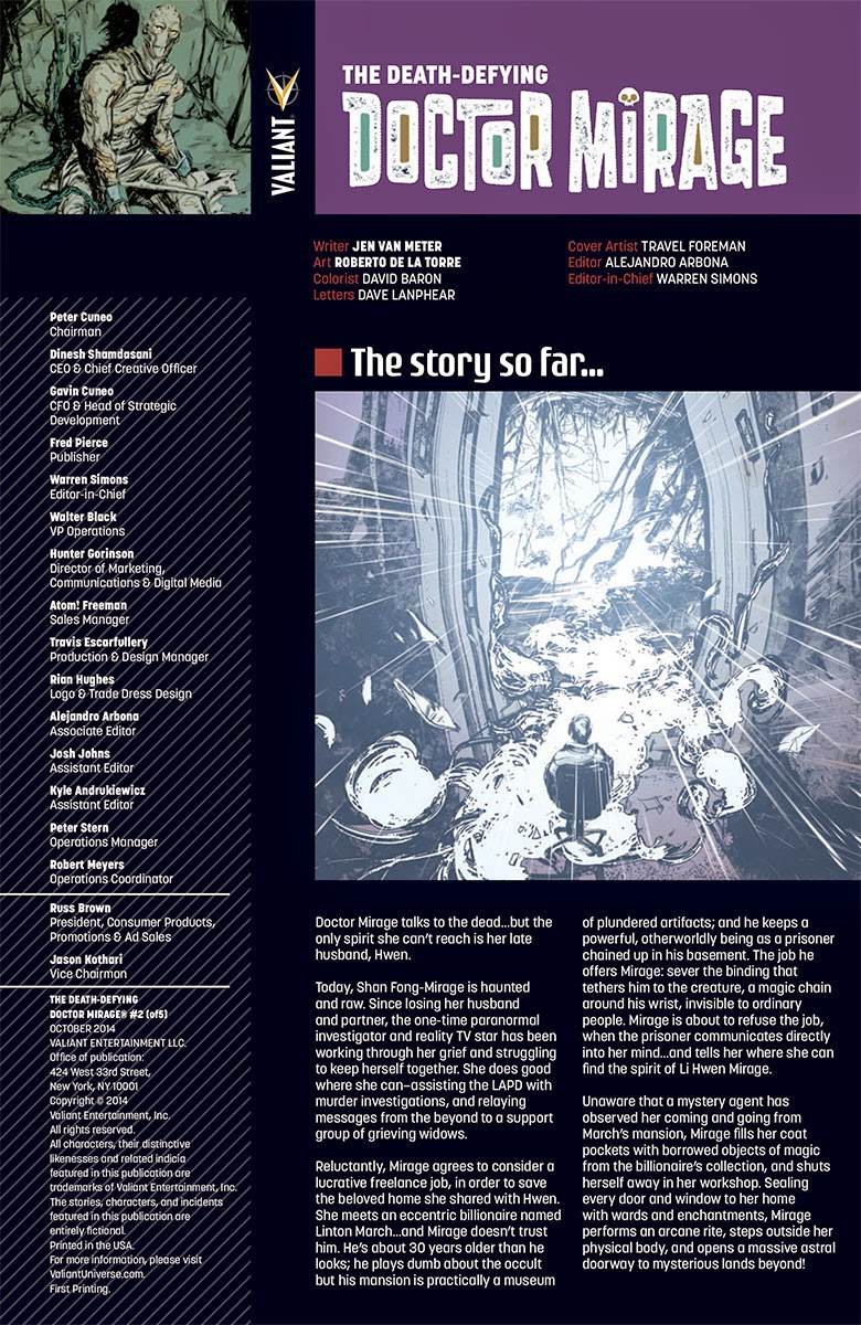 Valiant THE DEATH-DEFYING DR. MIRAGE #2 interior contents page
