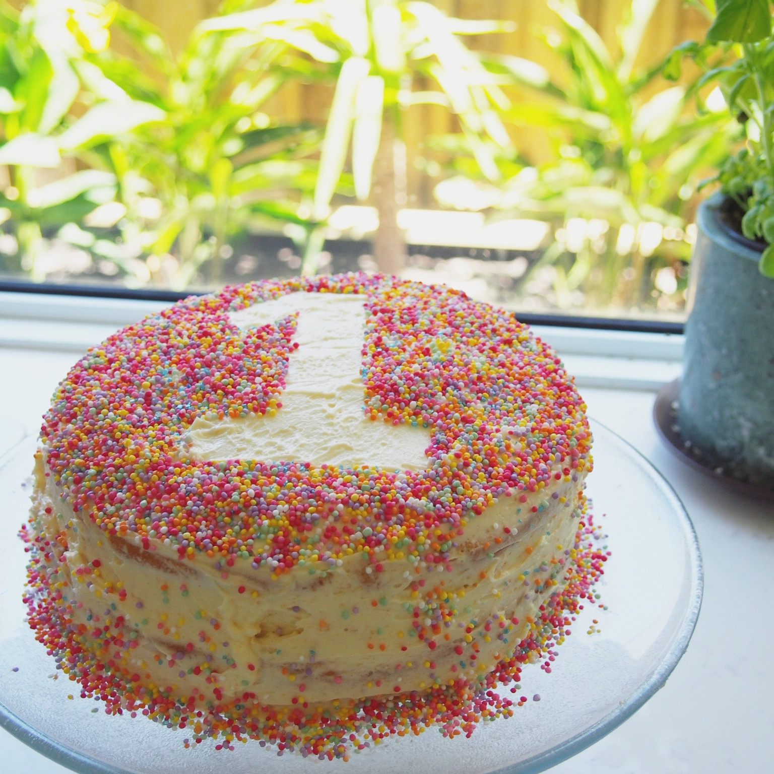 Easy Sprinkles First Birthday Cake Yellow Dandy