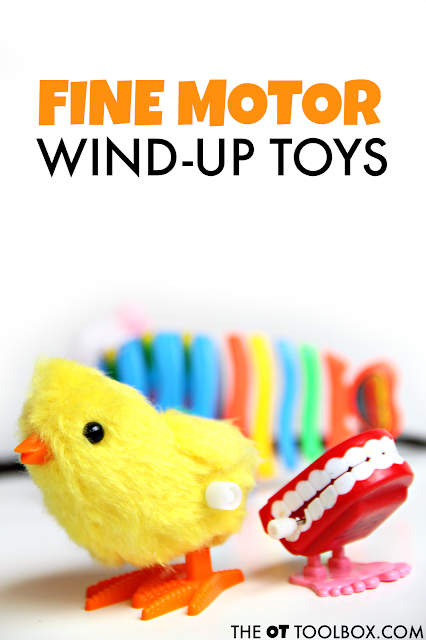 Help kids work on fine motor skills using wind-up toys