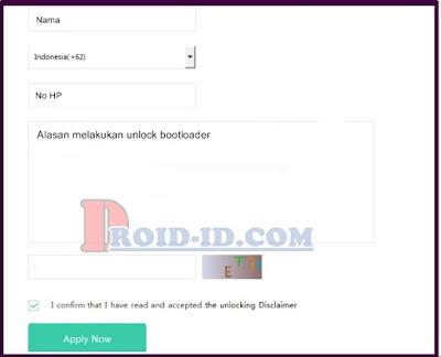 Form Unlock Bootloader MI