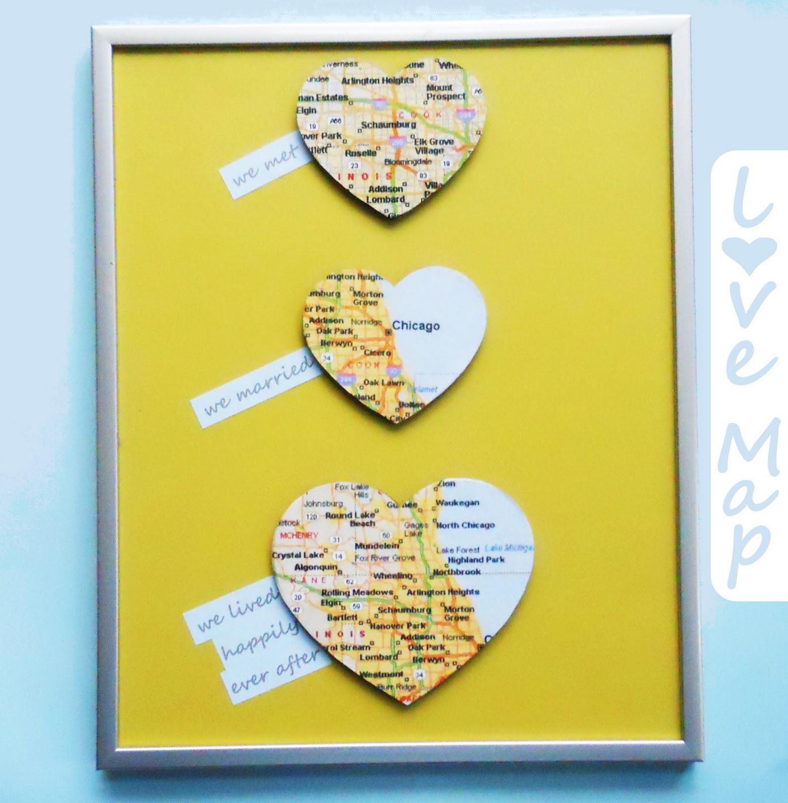 Love Map Wall Art Diy Wedding Gift Delightfully Noted