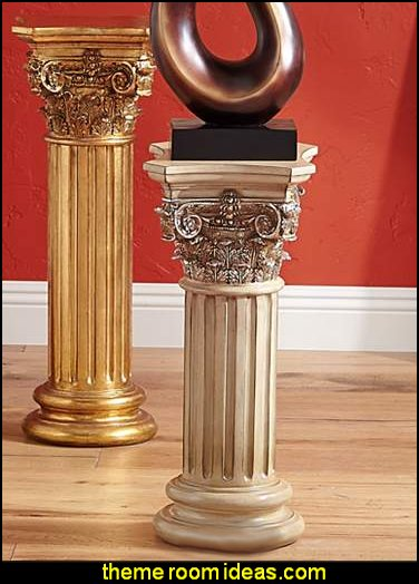 Corinthian Style Antique Copper Floor Column  mythology theme bedrooms - greek theme room - roman theme rooms - angelic heavenly realm theme decorating ideas - Greek Mythology Decorations - heavenly wall murals - asngel wings decor - angel theme bedrooms