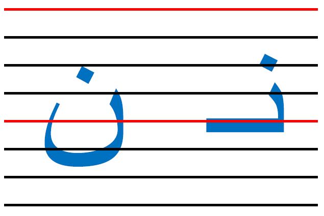 x4 - المقاييس الصحيحة  في الكتابة لكل الحروف العربية