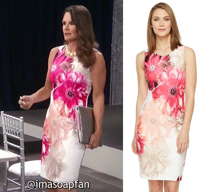 Lucy Coe, Lynn Herring, Pink Floral Sheath Dress, Calvin Klein, GH, General Hospital, Season 55, Episode 05/19/17