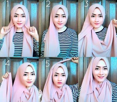 cara menggunakan hijab pashmina