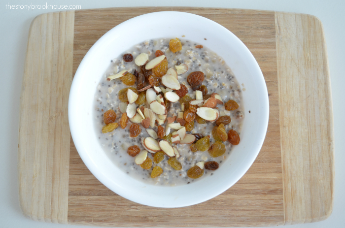Add Toppings to Chia Oatmeal Porridge