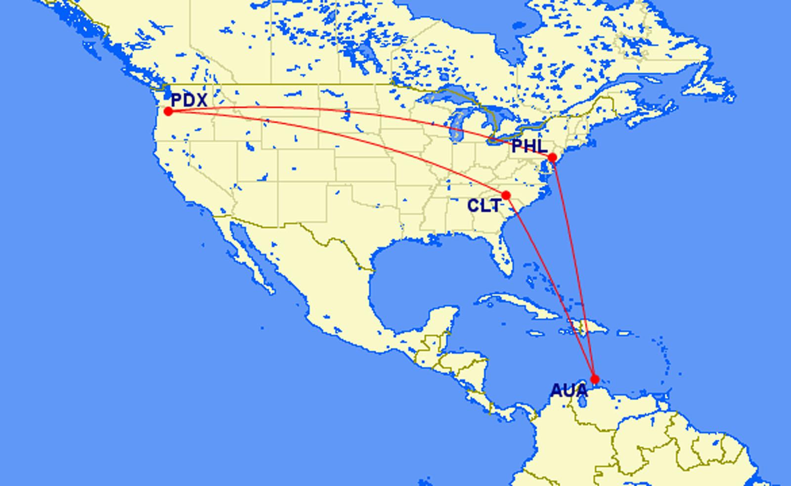 Portland to Aruba 335 SameDay Turn or Vacation Mileage Run