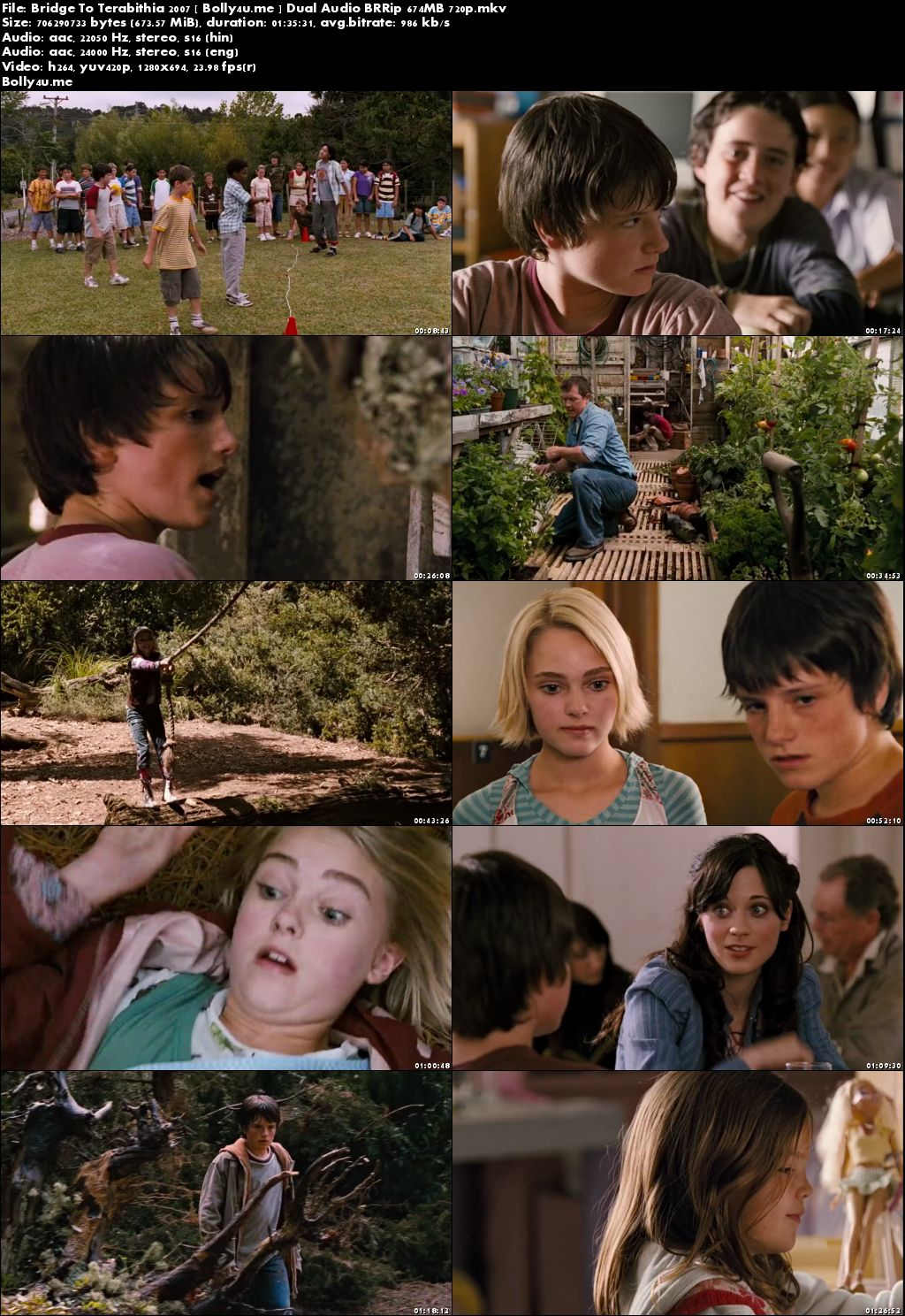Bridge To Terabithia 2007 BRRip 650MB Hindi Dual Audio 720p Download