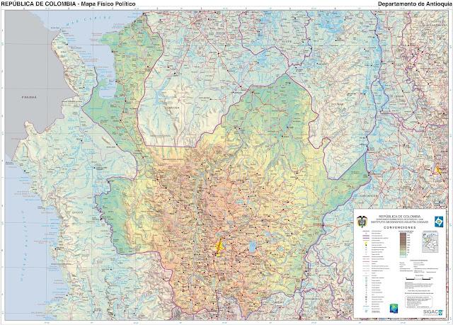 Mapa da Colômbia - Departamento de Antioquia