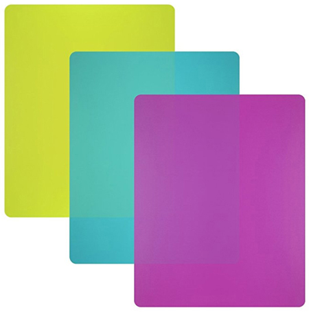 image of cutting board set, featuring three cutting boards in green, purple, and blue
