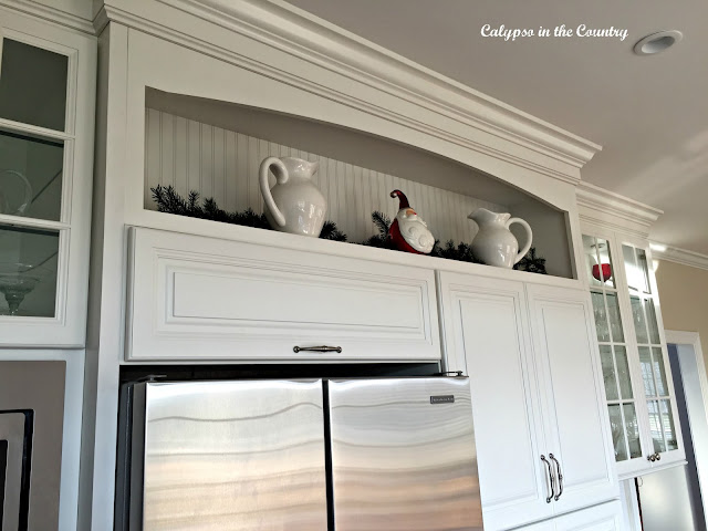 White beadboard behind shelf
