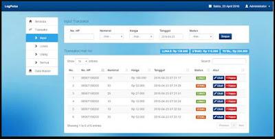 Source code Aplikasi Web Pencatatan Transaksi Pulsa