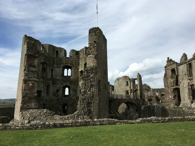 Raglan Castle - Ruined walls, lots of windows and walkways
