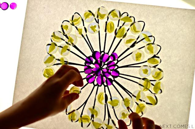 Creating flower mandalas on the light table