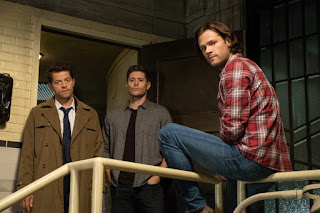 "Misha Collins as Castiel, Jensen Ackles as Dean Winchester, Jared Padalecki as Sam Winchester in Supernatural 14x07 ""Unhuman Nature"""