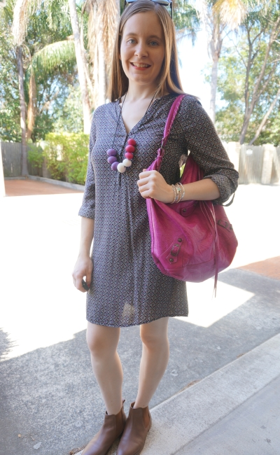 Jeanswest Nikki printed shirt dress magenta pink accessories Chelsea leather ankle boots   Away From Blue