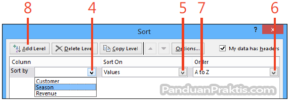 Gambar: cara sort data di excel